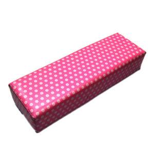 Подушка для маникюра и педикюра, Темно-розовая в белый гор