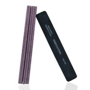 Пилка для ногтей Professional Прямоугольная, черная 100/180