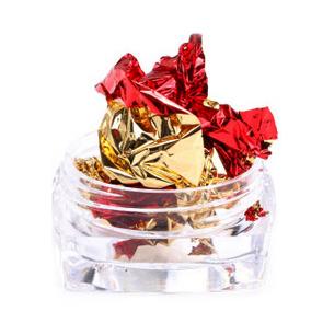 Фольга жатая в банке для ногтей, Красная с золотом