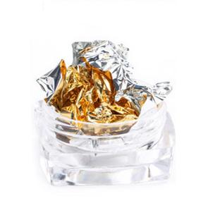 Фольга жатая в банке для ногтей, Серебро с золотом