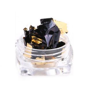 Фольга жатая в банке для ногтей, Черное с золотом