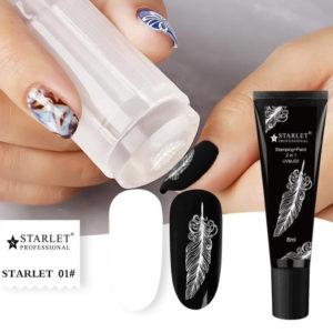 Гель-краска для стемпинга и дизайна ногтей 2в1 Starlet, Белая №1