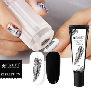 Гель-краска для стемпинга и дизайна ногтей 2в1 Starlet, Чёрная №2