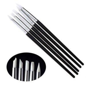 Набор силиконовых кистей для 3D-лепки Черные, 5 шт/уп