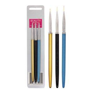 Набор кистей для дизайна ногтей «Металлик», 3шт