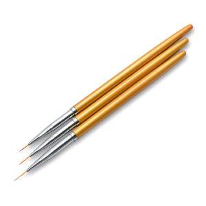 Набор кистей для дизайна ногтей Золото, 3шт
