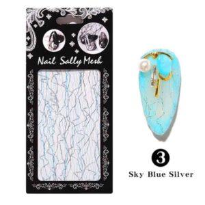 3D Сетка для дизайна ногтей №03, голубое с серебром