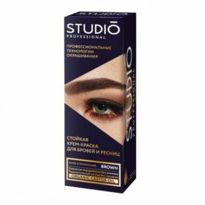 Studio, Крем-краска для бровей и ресниц Коричневая, 50мл