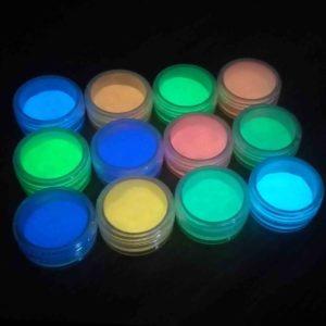 Люминофор (светящийся) порошок для маникюра, 12шт