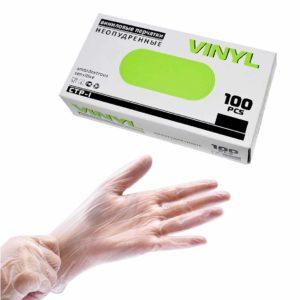Vinyl, Перчатки виниловые неопудренные прозрачные 50пар