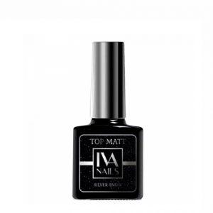 IVA Nails, Top Matte SILVER SNOW Матовый топ с серебристыми блёстками, 8мл